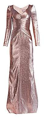 Theia Women's Ruched Metallic Lamé Gown