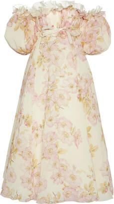 Giambattista Valli Floral Printed Cold-Shoulder Chiffon Midi Dress Siz