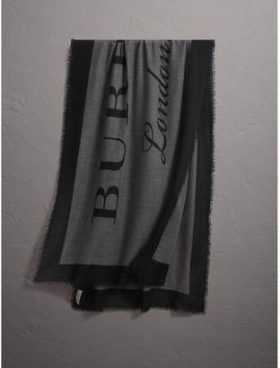 Burberry Graphic Print Motif Lightweight Cashmere Scarf