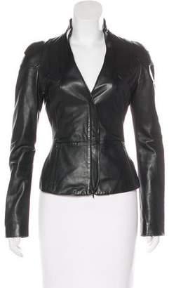 Emporio Armani Leather Zip-Up Jacket