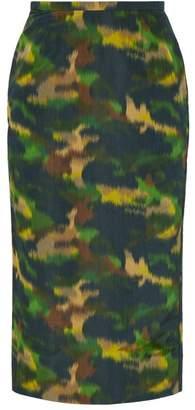 Rochas Camouflage Print Cotton Blend Taffeta Pencil Skirt - Womens - Green Multi