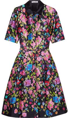 Oscar de la Renta - Floral-print Silk And Cotton-blend Satin Dress - Navy $2,490 thestylecure.com