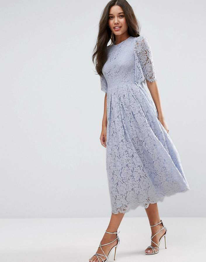 Asos ASOS Flutter Sleeve Lace Prom Dress