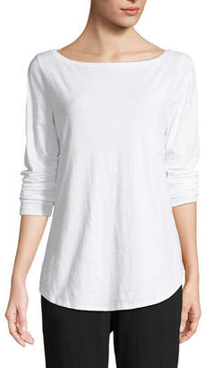 Eileen Fisher Organic Cotton Slub Boat-Neck Tee, Petite