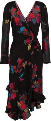 Etro deep-V floral wrap dress