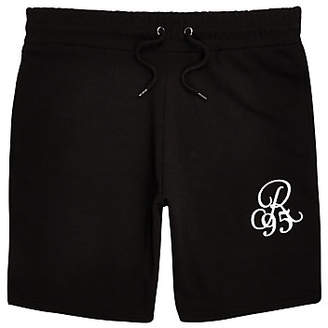 River Island Black R96 embroidered slim fit shorts