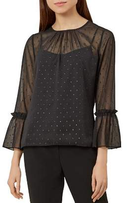 Hobbs London Natalia Metallic Clip Dot Top