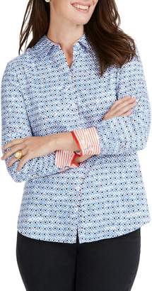 Foxcroft Ava Diamond Status Print Cotton Shirt