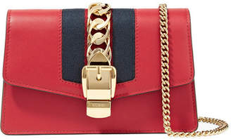 Gucci Sylvie Mini Chain-embellished Leather Shoulder Bag - Red