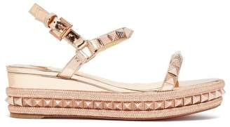 Christian Louboutin - Pyraclou 60 Metallic Leather Flatform Sandals - Womens - Rose Gold