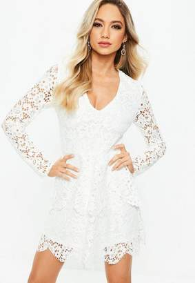 Missguided White Lace Long Sleeve Double Layer Skater Dress