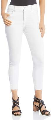 Karen Kane Zuma Cropped Raw Step-Hem Jeans in White