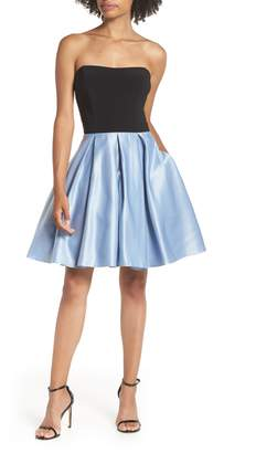 958827e9697 Blondie Nites Strapless Satin Skirt Fit   Flare Dress