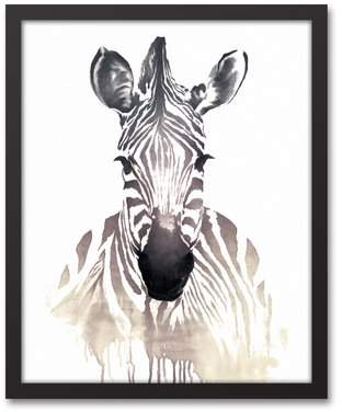 Wayfair 'Zebra Watercolor' Framed Watercolor Painting Print on Canvas