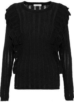 IRO Ruffle-trimmed Open-knit Alpaca-blend Sweater