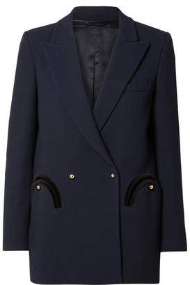 Blazé Milano - Everyday Double-breasted Velvet-trimmed Wool-crepe Blazer - Midnight blue