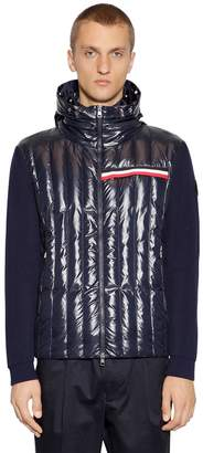 Moncler Hooded Nylon & Cotton Tricot Cardigan