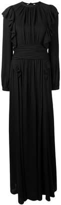 Rochas long ruffle trimming dress