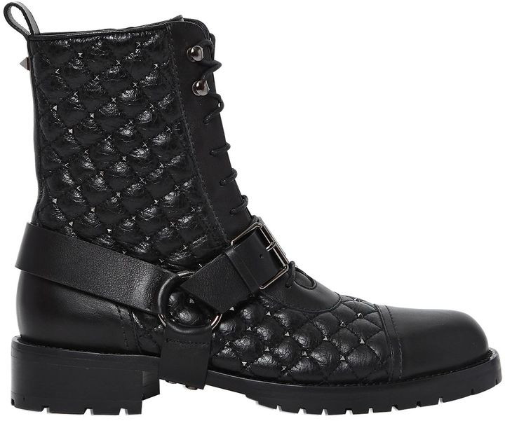30mm Rockstud Quilted Leather Boots