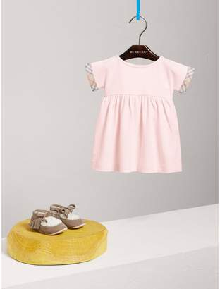 Burberry Short-sleeved Cotton Piqué Dress with Check Detail