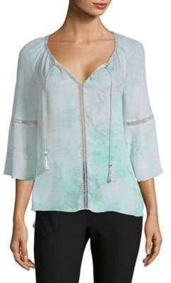Elie Tahari Watercolor Print Silk Blouse