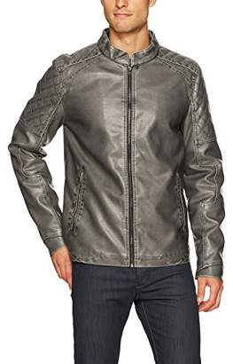 X-Ray Men's Slim Fit Over Washed Quilted Faux Leather Moto Jacket