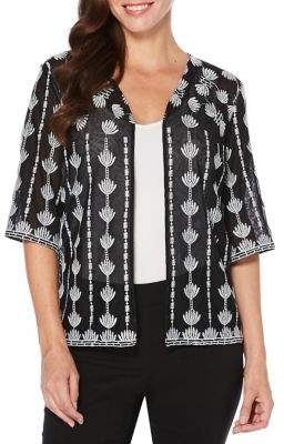 Rafaella Plus Embroidered Mesh Open Front Cardigan