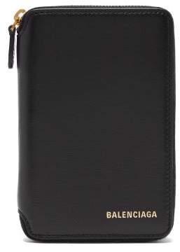 Balenciaga Ville Leather Wallet - Womens - Black