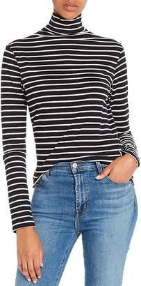 AG Jeans Striped Jersey Knit Turtleneck