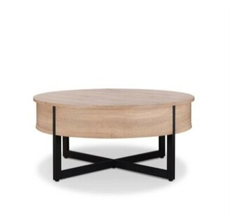 Union Rustic Haygarden Round Wood and Metal Coffee Table Union Rustic