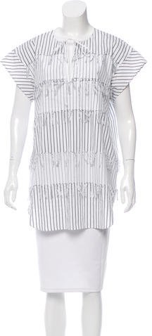 Cédric Charlier Cédric Charlier Striped Fringe-Trimmed Tunic