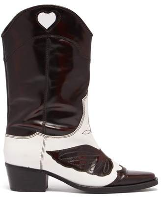Ganni Marlyn Western Leather Boots - Womens - Black White