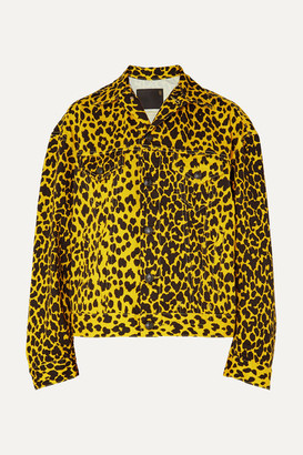 R 13 Reed Oversized Leopard-print Denim Jacket - Yellow