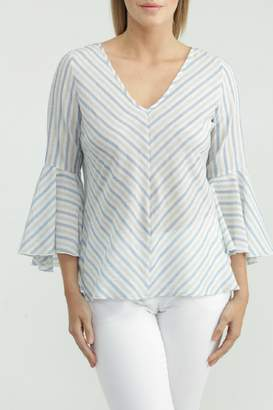 Kay Celine Stripe Bell-Sleeve Blouse