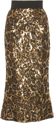 Dolce & Gabbana Leopard-Print Sequin Midi Skirt