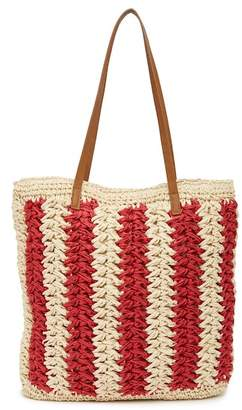 Straw Studios Striped Straw Tote