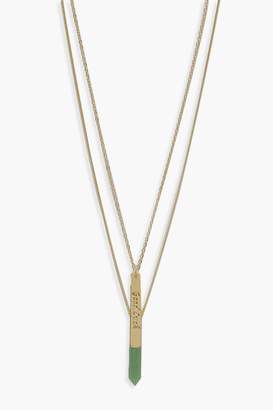 boohoo Semi-Precious Aventurine Layered Necklace