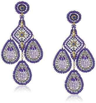 Miguel Ases Rice Bead Pointed Square Center Chandelier Drop Earrings