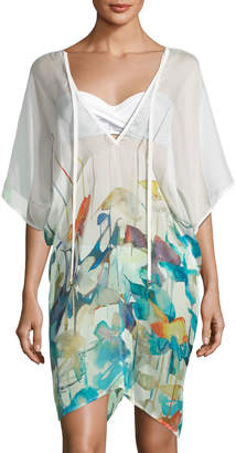Neiman Marcus Shan Lily V-Neck Watercolor-Print Poncho Coverup