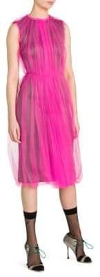 Prada Sleeveless Tulle Overlay Dress