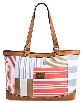 Bolo Women's Tote Handbag with Stripes - Coral/Multicolor $44.99 thestylecure.com