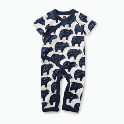 Tea Collection Newborn Black Bear Short Sleeve Wrap Coverall in White/Navy
