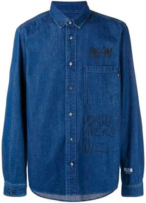 MSGM printed denim buttondown shirt