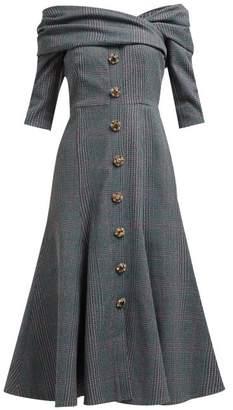 Erdem Iman Off The Shoulder Plaid Twill Midi Dress - Womens - Grey Multi