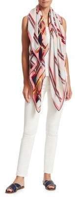 Loro Piana Long Print Cashmere Silk Scarf