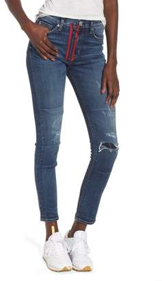Hudson Barbara Exposed Zip High Waist Ankle Skinny Jeans
