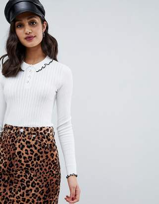 Miss Selfridge frill tipped collar polo top