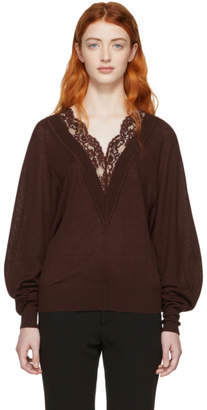 Chloé Red Wool and Silk Lace V-Neck Sweater