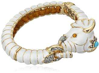 Kenneth Jay Lane Gold Crystal and Enamel Elephant Bracelet