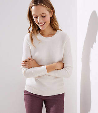 LOFT Petite Textured Button Cuff Sweater